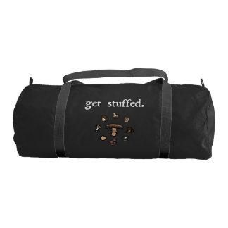 get stuffed. (mushrooms) <white text> gym duffel bag