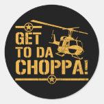 Get To Da Choppa Vintage Round Sticker