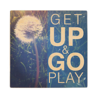 Get Up & Go Play Wood Coaster