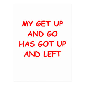get up is gone postcard