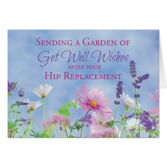 Get Well After Hip Replacement, Garden Flowers Card