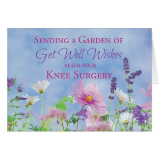 Get Well After Knee Surgery, Garden Flowers Greeting Card
