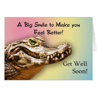Get well card with a smiling alligator