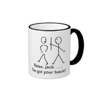 Get Well Cartoon - Relax Mac, I've Got Your Back! Ringer Mug