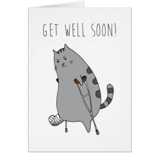 Get Well Feel Better Card: Broken Bone in a Cast Card