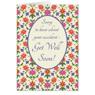 Get Well from Accident Card, Rangoli Flowers Greeting Card