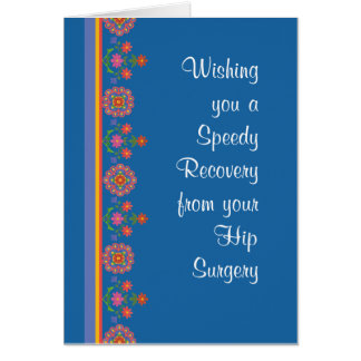 Get Well from Hip Surgery Rangoli Border Blue Greeting Card