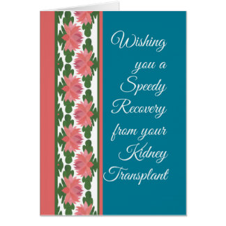 Get Well from Kidney Transplant Card, Water Lilies Greeting Card