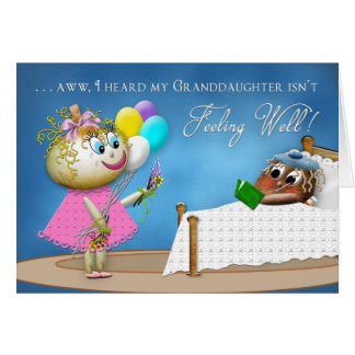 GET WELL GRANDDAUGHTER - POTATO FAMILY GREETING CARD