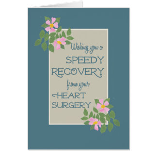 Get Well, Heart Surgery Card, Pink Dogroses, Blue Greeting Card