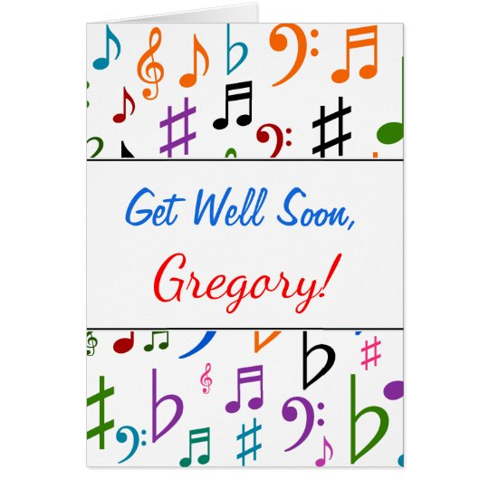 Get Well + Many Colourful Music Notes and Symbols