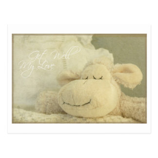 Get well my love sheep sleep ill - greeting card postcard