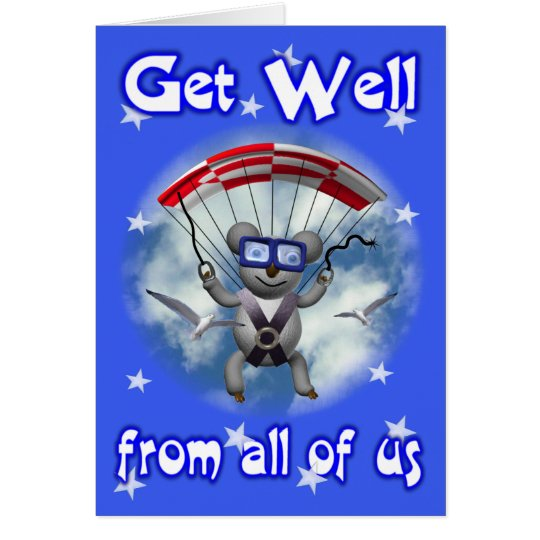 Get Well Sky Diving Koala Card