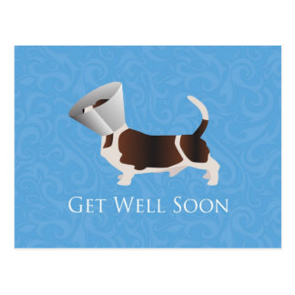 Get Well Soon - Basset Hound Male Postcard