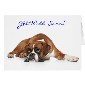 Get Well Soon Boxer Dog Greeting Card - Verse