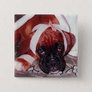 Get Well Soon - Boxer dog looking very poorly 15 Cm Square Badge
