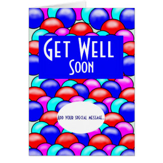 Get well soon bright coloured balloons add message card