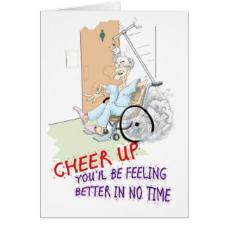 Get Well soon card. Funny Grandpa in wheelchair Greeting Card