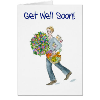 Get Well Soon Card with fruit and flowers