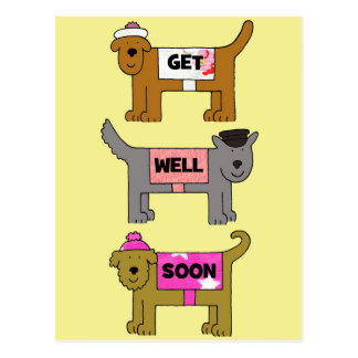 Get well soon cartoon dogs in hats and coats. postcard