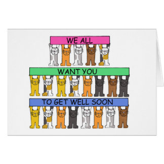Get well soon cats from all of us. greeting card