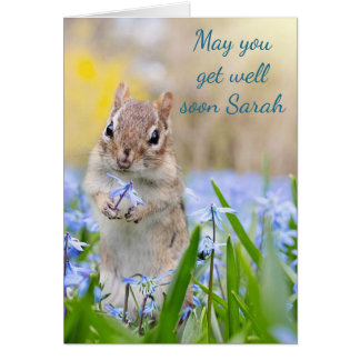 Get well soon chipmunk theme card
