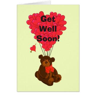 Get well soon fun teddy bear cartoon  design card