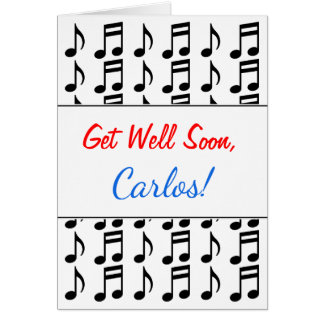 """""""Get Well Soon"""" + Grid of Musical Notes"""