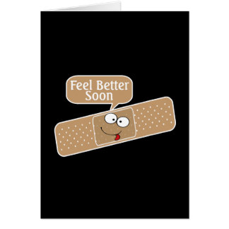 Get Well Soon Plaster And Funny Face Card