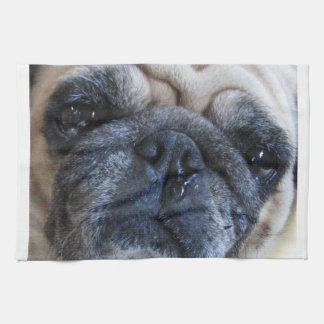 Get Well Soon Sick Pug Dog Hand Towels