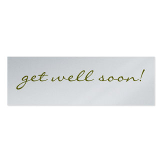Get Well Soon: Silver Greeting Tag Pack Of Skinny Business Cards