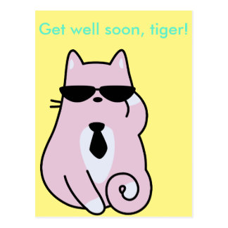 Get well soon, tiger! - Cool Pink Cat Postcard
