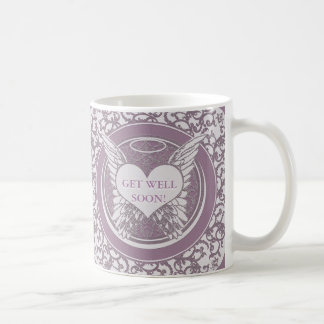Get Well Soon with Angel Wings Basic White Mug