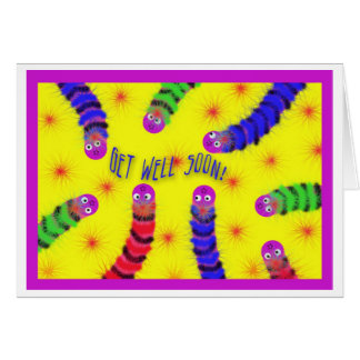 Get Well Soon Worm Fuzzy Greeting Card
