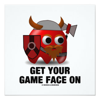 Get Your Game Face On (Viking) 13 Cm X 13 Cm Square Invitation Card