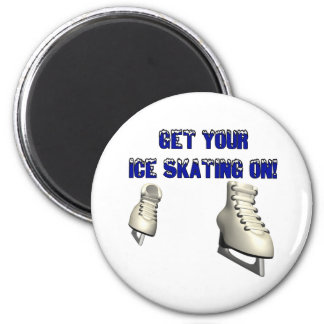 Get Your Ice Skating On 6 Cm Round Magnet