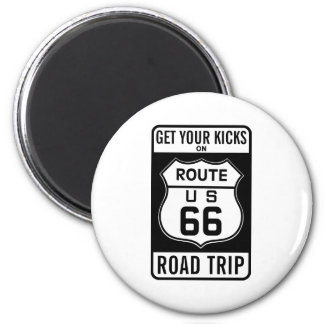 Get Your Kicks On Route 66 6 Cm Round Magnet