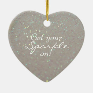 Get your Sparkle on / Keep Sparkling -faux glitter Ceramic Heart Decoration
