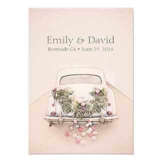 Getaway Car Wedding Romantic Blush Pink Invitation