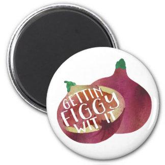 Gettin Figgy Wit It | Veggie Pun 6 Cm Round Magnet