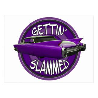 gettin slammed 1960 Cadillac Grape Postcard