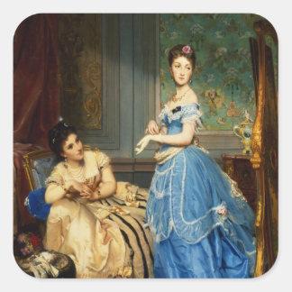 Getting Dressed, 1869 Square Sticker