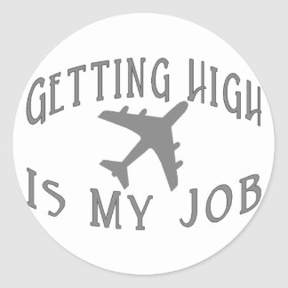 Getting High Airline Pilot Round Sticker