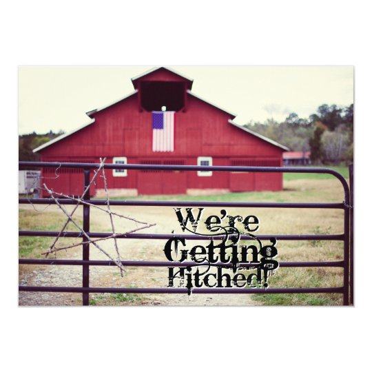 Getting Hitched Red Barn Wedding Invitations