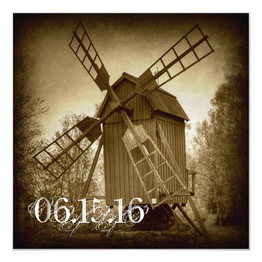 Getting Hitched Rustic Windmill Wedding Invitation