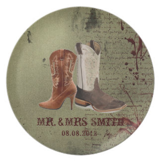 getting hitched western cowboy boots wedding plate