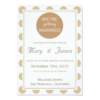 """""""GETTING MARRIED"""" brown vertical 13 Cm X 18 Cm Invitation Card"""