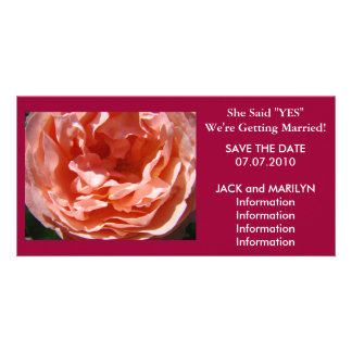 Getting Married Save the Date cards Pink Rose Customised Photo Card