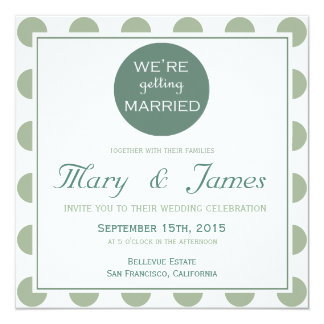 """GETTING MARRIED"" TONDO (blue) 13 Cm X 13 Cm Square Invitation Card"