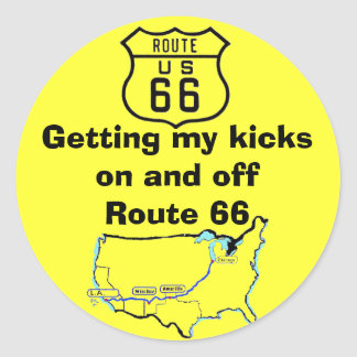 Getting My Kicks Route 66 Classic Round Sticker